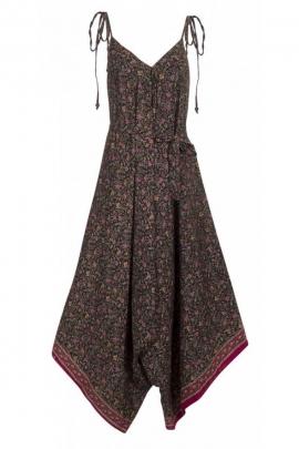 Combinaison sari ample et fluide, avec bretelles et lacets