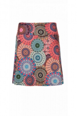 Short skirt, hippie chic, soft and fluid, printed mandala indian