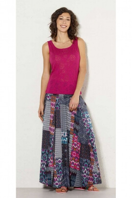 Jupe longue ikat patchwork originale, ambiance boho chic