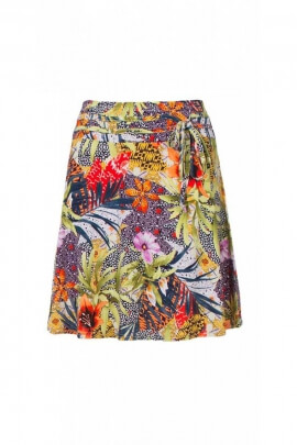 Short skirt romantic and casual, printed, tropical, soft and fluid