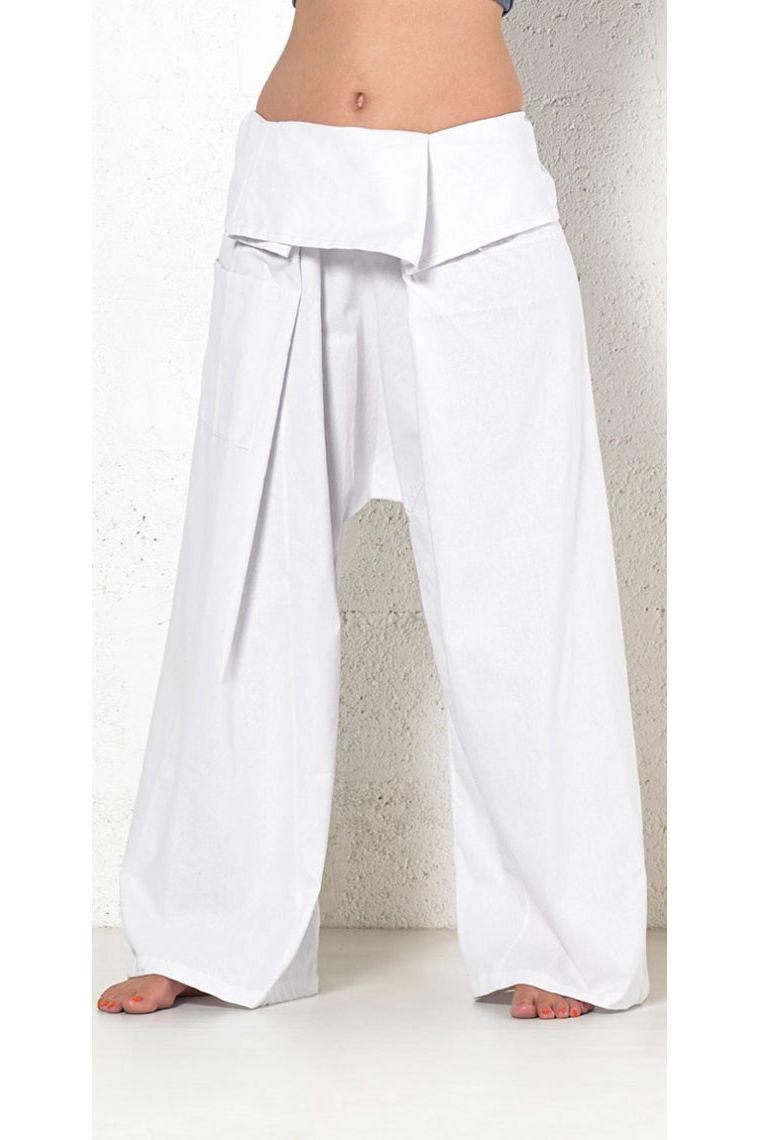 Pantalon Pour ThaïDu EthniqueCoupe Népal L'étéLéger Pêcheur Blanc Coton En Et exorCdB