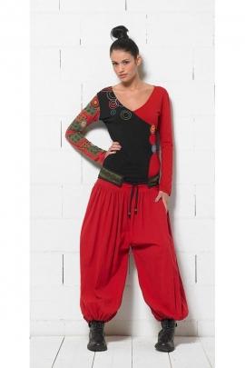 Pantalon bouffant uni en toile de coton, style zouave