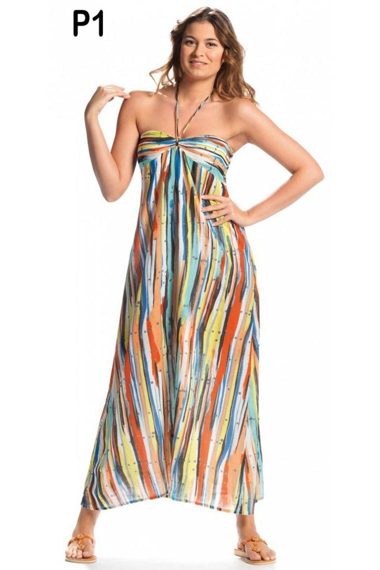 robe longue vacances plage mer coloré arc-en-ciel voile transparent sandale sable