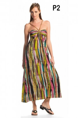 Robe longue colorée et originale, buste en bandeau avec lacets tressés au cou
