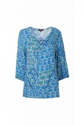 Jolie blouse vaporeuse et fluide en viscose, manches 3/4, lacets à l'encolure