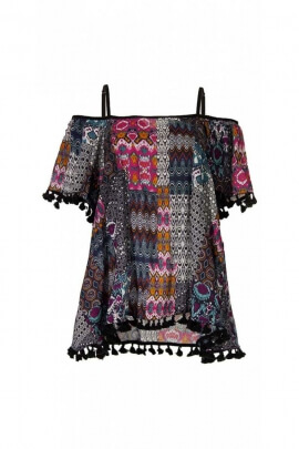Tunic indian casual, with pom-poms and uncovered shoulders
