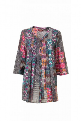 Tunic in cotton, patterned, ethnic, 3/4 sleeves, V-neck