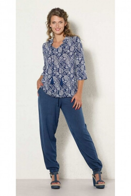 Blouse casual loose-fitting viscose, small flowers, short or long
