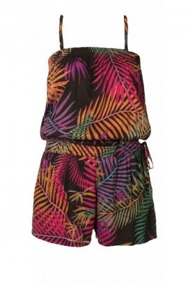 Combishort confortable à bretelles fines, imprimé palmier original