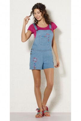 Salopette combishort en jean, avec broderies colorées, style hippie chic