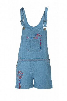 Jumpsuit playsuit in denim, with embroidery, colourful, style, hippie chic