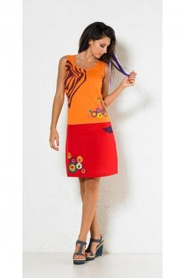 Jupe courte hippie chic, imprimé ronds psychédéliques, style seventy's