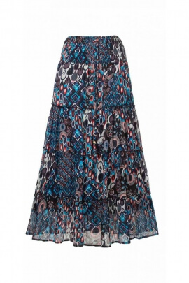 Long skirt indian, cotton, bohemian-style, ruffle, printed seventy's