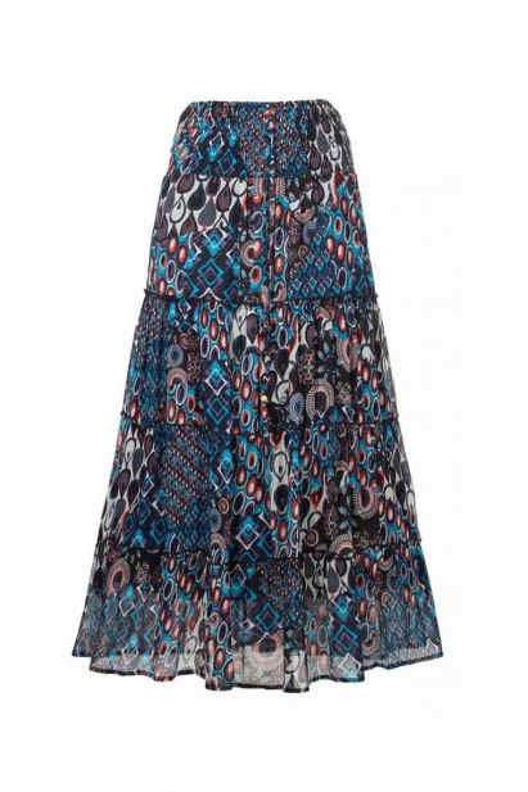 c72f5bb2d Falda larga de la india, de algodón, de estilo bohemio, volantes, impresos  setenta del