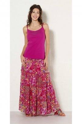 Long skirt indian, cotton, bohemian-style, ruffle, printed seventy's