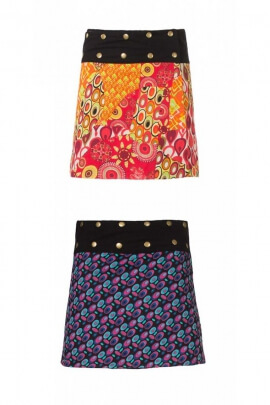 Mini-skirt, reversible cotton, to pressure and adjustable waist, colorful printed