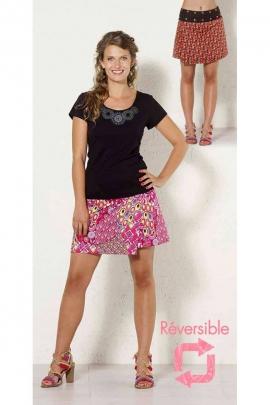 Mini-jupe réversible en coton, à pressions et taille réglable, imprimé coloré