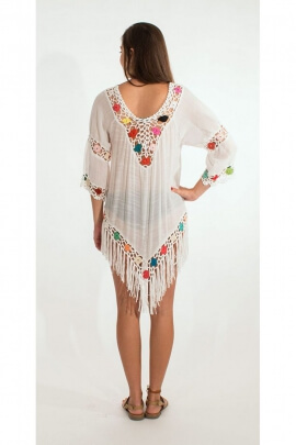 Poncho original avec longues franges, crochet coloré, en voile, style Woodstock