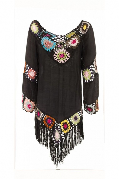 Poncho with long fringes and hook, transparent voile, style Woodstock