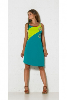 Dress asymmetric, two-color, three thin straps, colorful patterns