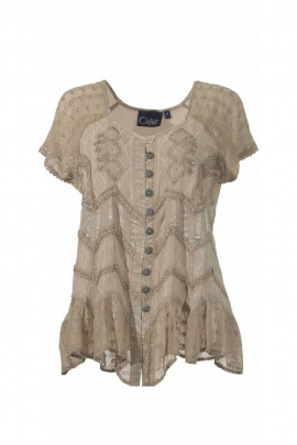 Blouse is romantic and original, embroidered with lace, stone wash