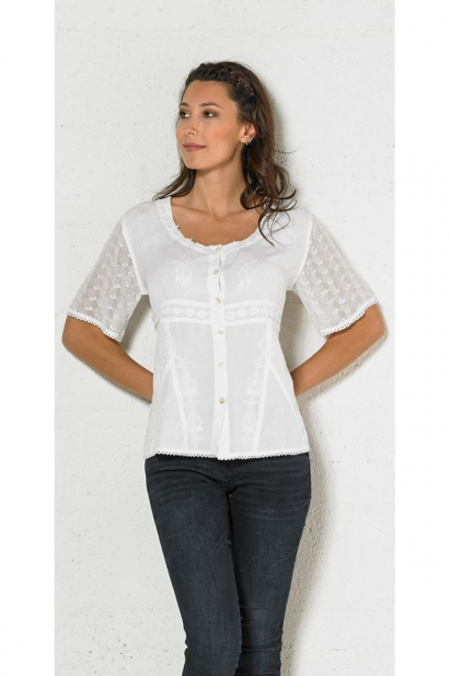 Blouse embroidered lightweight, stylish and original, lace sleeves