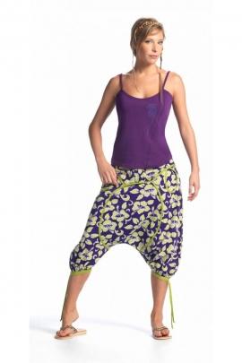 Pantalones Harem de medio a largo original, de algodón, impreso flores de hibisco