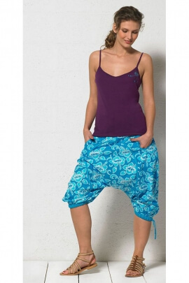 Harem pants mid-to-long-original, cotton, printed hibiscus flowers