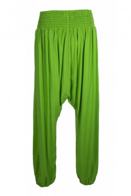 Harem pants kingdom stylish, viscose, peacock, crotch mid-long