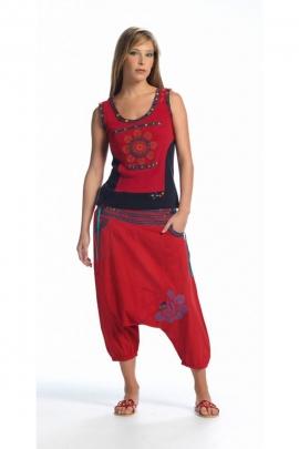 Harén pantalones de algodón étnica y original con una cascada de botones, de la india hizo