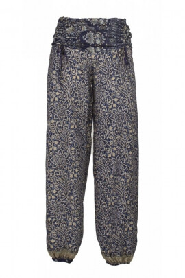 Baggy trousers hippie chic, printed sari, belt, draped