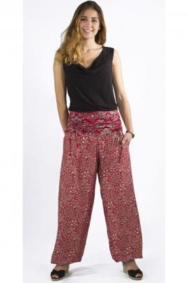 Pantalon bouffant hippie chic, imprimé sari, ceinture drapée