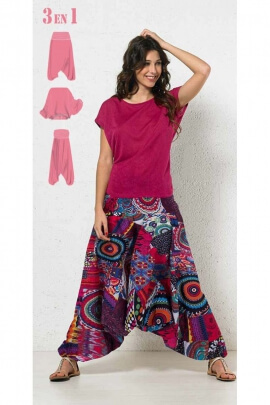 Harem pants 3-in-1 cotton, original with a printed multi-coloured and patch