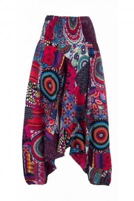 Pantalones Harem, 3-en-1 de algodón, original, con un impreso de varios colores y parche