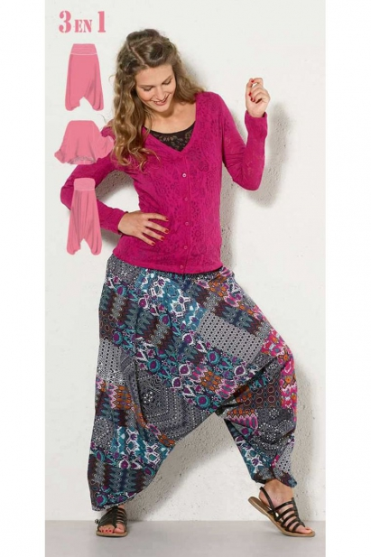 Harem pants 3-in-1 cotton, original and multicolored patch ikat, indian made