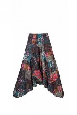 Pantalones Harem, 3-en-1 de algodón, original y multicolor parche ikat, la india hizo