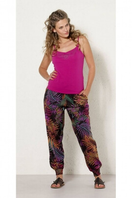 Pants indian edges smockés, printed jungle palm, indian made