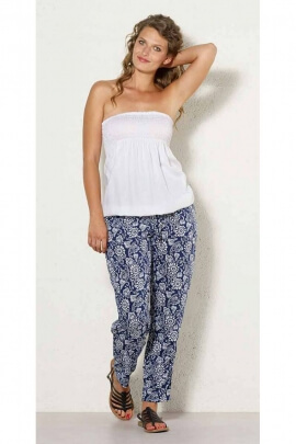 Pants, light and fluid, ethnic style printed mini mandala