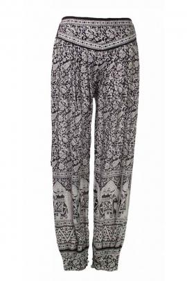 Pantalon bouffant indien, motifs éléphants colorés, style baba cool