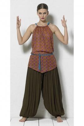 Pantalon ethnique froissé, large et fluide en voile de coton