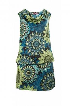 Jolie robe courte colorée, coupe charleston originale, col bénitier