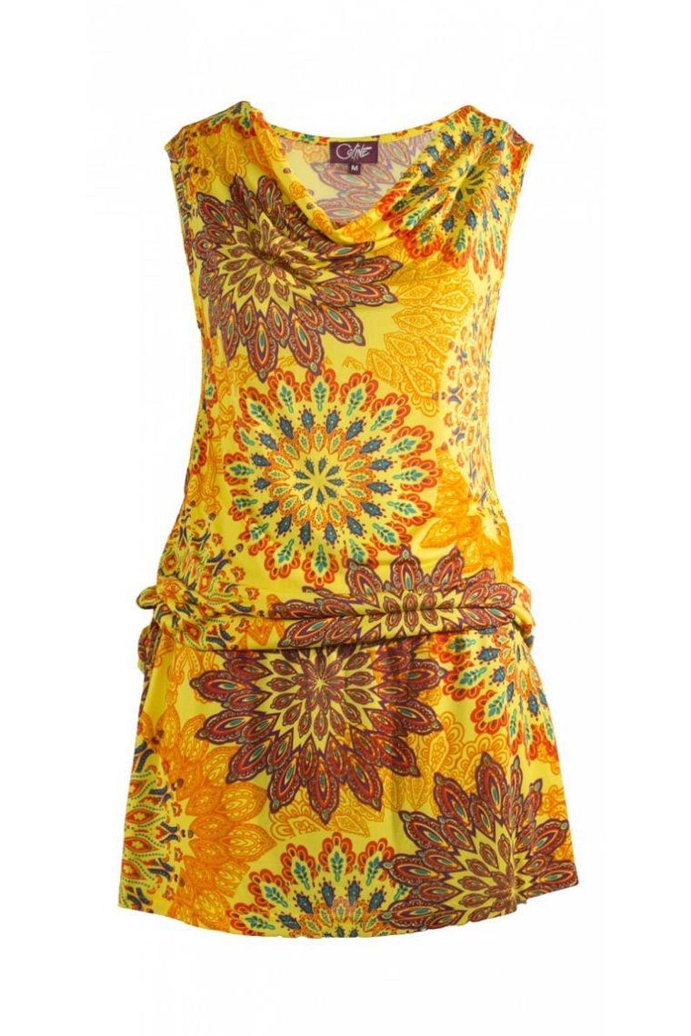 Bonito Vestido Corto De Colores De La Copa De Charleston Original Cuello Chimenea Talla S Color Amarillo