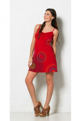 Dress ethnic short in stretch cotton, thin straps and bow on the bust