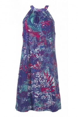Dress short sun bath, colourful printed, knotted in front and behind