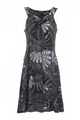 Robe courte élégante et décontractée, à bretelles larges, imprimée exotique