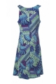 Short dress elegant and relaxed, with wide straps, printed exotic