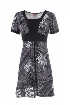 Short dress two-tone sleeve, high waist, belt under bust