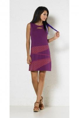 Short dress hippie chic, original patchwork, geometric patterns, bohemian and romantic