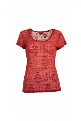 Tee-shirt branché teuf à manches courtes, effet dévoré, motif Aztèque psychédélique