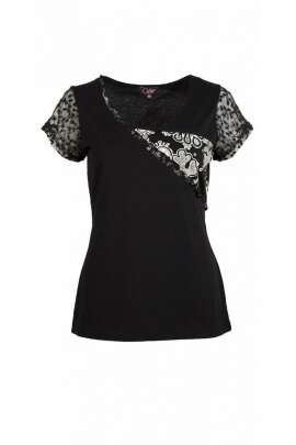 Tee-shirt original kingdom, lace sleeves, modern and stylish